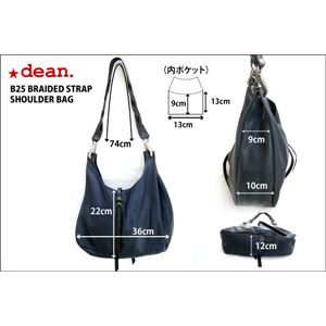 ★dean(ディーン) the braided-strap shoulder bag レザーバッグ ネイビー ハンドル/黒 f06