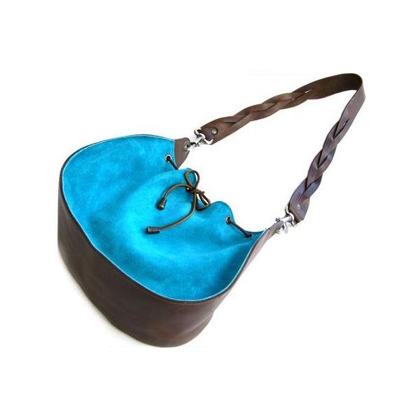 ★dean(ディーン) round shoulder bag w/drawstring レザーバッグ ターコイズ ハンドル/茶f00