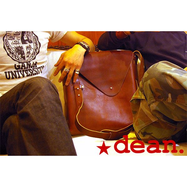 ★dean(ディーン) unisex vertical large レザーバッグ tanf00