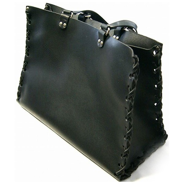 ★dean(ディーン) crossed stitch tote レザーバッグ 黒f00