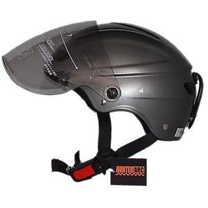 スタイリッシュな開閉式シールド付きハーフヘルメットガンメタリック