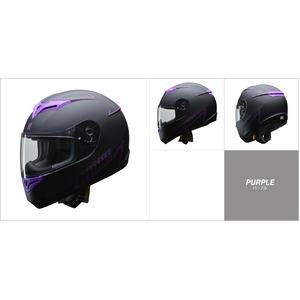 人気のマットブラック ZIONE(ジオーネ) フルフェイスヘルメット パープル LLサイズ