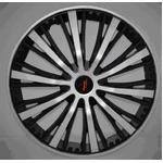 重厚感バツグンのブラッシュタイプ ホイールカバー ブラック&シルバー 15インチ 4枚セット