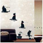 Let's try DIY!! ウォールステッカー 【KR-0015】 黒猫たち / 国内外大人気 シール式 カッティングシート!