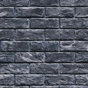 壁紙シール/プレミアムウォールデコシート 【6m巻】 R-WA106 レンガ ラグジュアリー 黒ブラック系【アウトレット】