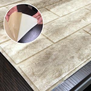 クッションブリック【モカブラウン】(6枚組)壁紙シール壁用クッションレンガ3D立体壁紙れんがシート煉瓦シート