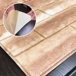 クッションブリック【キャメルブラウン】(6枚組)壁紙シール 壁用クッションレンガ 3D立体壁紙 れんがシート 煉瓦シート