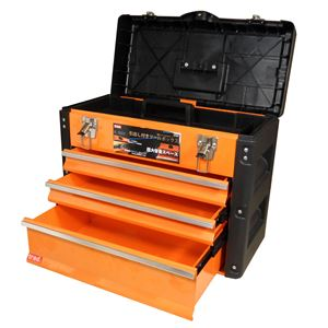 TRADツールチェスト/ツールボックス【4段】強化PP・スチール製連動式ロック構造TRD-TC4オレンジ/黒〔DIY用品/大工道具〕