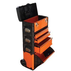 TRAD合体式ツールチェスト/ツールボックス【5段】キャスター付きTRD-TC5オレンジ/黒〔DIY用品/大工道具〕