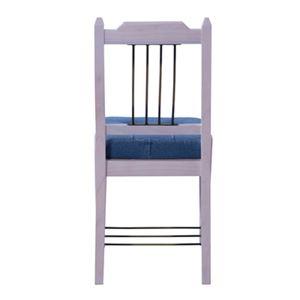 ダイニングチェア/食卓椅子 2脚セット 【ホワイト】 幅42cm 木製 アイアン ラッカー塗装 コットン 『ブリジット』 〔キッチン〕