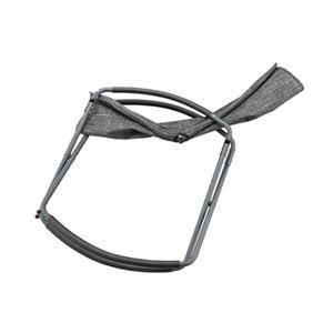 ロッキングチェア/パーソナルチェア 2脚セット 【ダークグレー】 幅71.5cm スチール ポリエステル PVC 〔リビング ダイニング〕