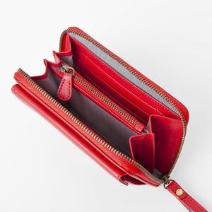[スモールタイプ・タンジェリンレッド] スマホ入れ、お財布になるスマホウォレット iPhone5/6など小さいスマホ向け / スイス発カーフレザー多機能お財布