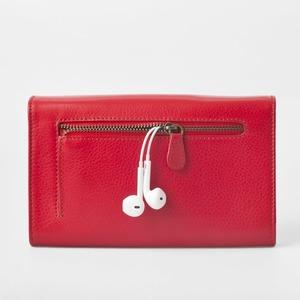 お財布にもなる「ショルダーミニバッグ・プラス・タンジェリンレッド」iPhone 6Plus/7Plusなど大きいスマホも入る / スイス発カーフレザー製