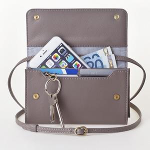 お財布にもなる「ショルダーミニバッグ・プラス・グレイ」iPhone 6Plus/7Plusなど大きいスマホも入る /