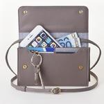 お財布にもなる「ショルダーミニバッグ・プラス・グレイ」iPhone 6Plus, 7Plusなど大きいスマホも入る / スイス発カーフレザー製
