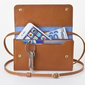 お財布にもなる「ショルダーミニバッグ・プラス・キャラメル」iPhone 6Plus/7Plusなど大きいスマホも入る /