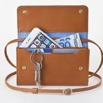 お財布にもなる「ショルダーミニバッグ・プラス・キャラメル」iPhone 6Plus/7Plusなど大きいスマホも入る / スイス発カーフレザー製