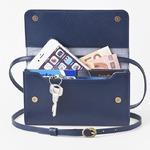 お財布にもなる「ショルダーミニバッグ・プラス・マリンブルー」iPhone 6Plus/7Plusなど大きいスマホも入る