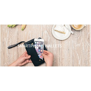 スマホも入る「スマートフォンウォレット」手首ストラップ付きiPhone8Plusなど大きいスマホも入る / スイス発カーフレザー製 ブラック