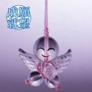ハッピー天使の水晶ストラップ ピンク