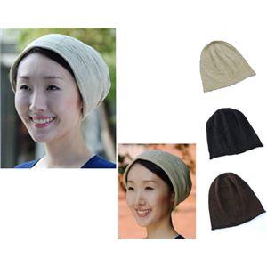 シルクニット帽子 ブラック