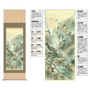 掛軸「蓬莱四神五猿図」幸田薫風 筆