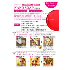 【10個セット】ナノソープ(クレンジング&洗顔石けん) 100g アスタキサンチン配合 日本製 〔洗浄 肌保湿 肌栄養 除菌 消臭〕
