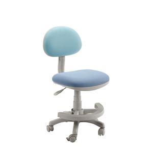 学習チェア(学習椅子/勉強椅子) ブルー 『マウスII』 座面高44.3〜54.5cm 足置きリング/キャスター付き - 拡大画像