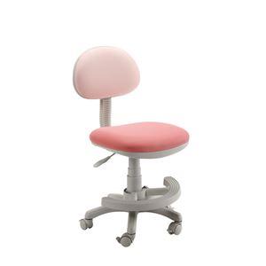 学習チェア(学習椅子/勉強椅子) ピンク 『マウスII』 座面高44.3〜54.5cm 足置きリング/キャスター付き - 拡大画像