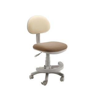 学習チェア(学習椅子/勉強椅子) ベージュ 『マウスII』 座面高44.3〜54.5cm 足置きリング/キャスター付き - 拡大画像