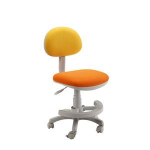 学習チェア(学習椅子/勉強椅子) イエロー 『マウスII』 座面高44.3〜54.5cm 足置きリング/キャスター付き - 拡大画像