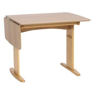 伸長式ダイニングテーブル/バタフライテーブル 【幅90cm/120cm】 ナチュラル 『バター』 木製 スライドタイプ - 拡大画像