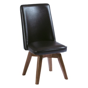 ダイニングチェア(回転式椅子)ブラウンムール木製脚張地:合成皮革/合皮座面高43cm