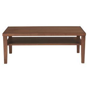 センターテーブル(ローテーブル/リビングテーブル)ウォールナット長方形幅100cm木製/ウォールナット突板収納棚付き