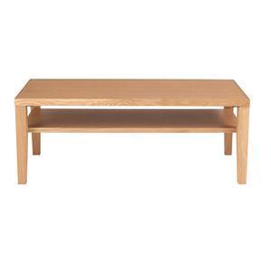 センターテーブル(ローテーブル/リビングテーブル) ナチュラル 『シーマ』 長方形 幅100cm 木製/オーク突板 収納棚付き - 拡大画像