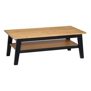 ビンテージ調 ローテーブル 【幅105cm】 木製脚 天板 収納棚付き ツートン 〔リビング ダイニング〕