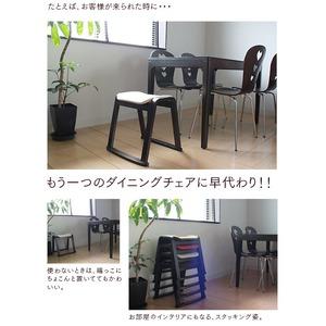 【同色4脚セット】スタッキングスツール 【ナチュラル×ブラウン】 幅46cm   木製 ファブリック布地 軽量