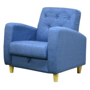 ソファー 【1人掛け】 ファブリック地 座面下収納 肘付き 北欧風 ブルー(青) - 拡大画像
