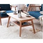 リビングテーブル/ダイニングテーブル 【長方形 幅90cm】 木製/タモ突板 棚付き 木目調 北欧風 ナチュラル