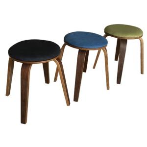スタッキングスツール/丸椅子 【同色2脚セット】 丸型 ファブリック地/木製フレーム 北欧風 ブラック(黒) 【完成品】  - 拡大画像