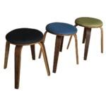 スタッキングスツール/丸椅子 【同色2脚セット】 丸型 ファブリック地/木製フレーム 北欧風 ブルー(青) 【完成品】  の画像