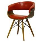 リビングチェア(カフェチェア) 合成皮革/合皮 木製 スチール 北欧風 レッド(赤)