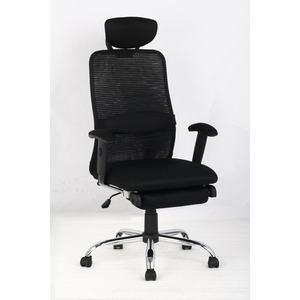 OAチェア(オフィスチェア/リクライニングチェア) オットマン/キャスター/肘付き メッシュ地 ブラック(黒)