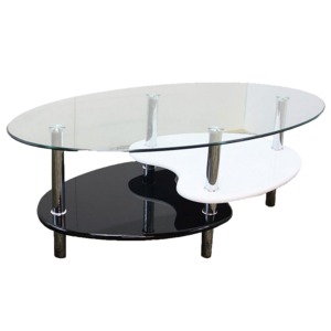 強化ガラステーブル(ローテーブル)高さ43cm棚収納/アジャスター付きブラック(黒)&ホワイト(白)