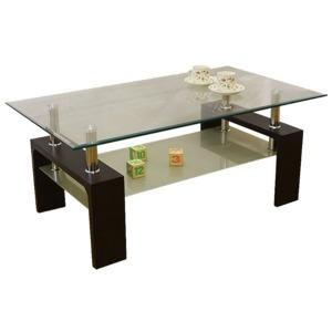 強化ガラステーブル/ローテーブル 【幅105cm】 高さ45cm 棚収納付き ブラウン - 拡大画像