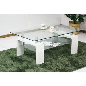 強化ガラステーブル/ローテーブル 【幅105cm】 高さ45cm 棚収納付き ホワイト(白) - 拡大画像