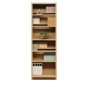 本棚/ブックシェルフ 【幅60cm】 高さ180cm 可動棚板8枚付き 木目調 日本製 ナチュラル 【完成品】