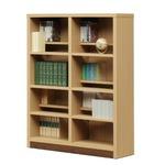 本棚/ブックシェルフ 【幅90cm】 高さ120cm 可動棚板12枚付き 木目調 日本製 ナチュラル 【完成品】