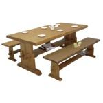 ダイニングテーブル 【幅180cm】 長方形 木製 天板総厚5.5cm 棚板付き カントリー調 ブラウン