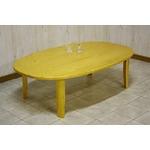 折りたたみテーブル 【楕円形】 幅120cm 木製 木目調 ライトブラウン 【完成品】